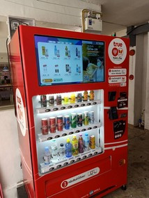 a smart drink machine accepting cash and local mobile wallet by scanning QR code